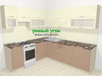 Угловая кухня МДФ глянец в современном стиле 6,9 м², 210 на 240 см, Жасмин / Капучино, верхние модули 72 см, посудомоечная машина, отдельно стоящая плита