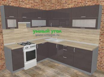Угловая кухня МДФ глянец в стиле лофт 6,9 м², 210 на 240 см, Шоколад, верхние модули 72 см, посудомоечная машина, отдельно стоящая плита