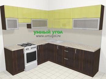 Кухни пластиковые угловые в современном стиле 6,9 м², 210 на 240 см, Желтый Галлион глянец / Дерево Мокка, верхние модули 72 см, посудомоечная машина, отдельно стоящая плита