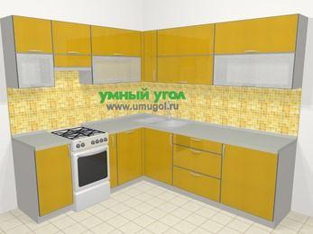 Кухни пластиковые угловые в современном стиле 6,9 м², 210 на 240 см, Желтый глянец, верхние модули 72 см, посудомоечная машина, отдельно стоящая плита