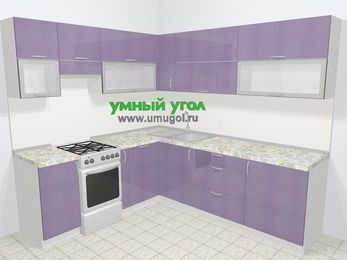 Кухни пластиковые угловые в современном стиле 6,9 м², 210 на 240 см, Сиреневый глянец, верхние модули 72 см, посудомоечная машина, отдельно стоящая плита