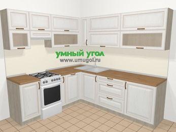 Угловая кухня МДФ патина в классическом стиле 6,9 м², 210 на 240 см, Лиственница белая, верхние модули 72 см, посудомоечная машина, отдельно стоящая плита