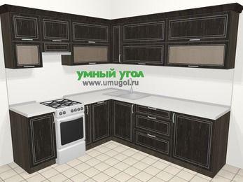Угловая кухня МДФ патина в классическом стиле 6,9 м², 210 на 240 см, Венге, верхние модули 72 см, посудомоечная машина, отдельно стоящая плита