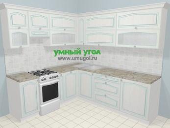 Угловая кухня МДФ патина в стиле прованс 6,9 м², 210 на 240 см, Лиственница белая, верхние модули 72 см, посудомоечная машина, отдельно стоящая плита