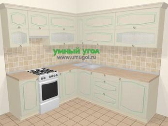 Угловая кухня МДФ патина в стиле прованс 6,9 м², 210 на 240 см, Керамик, верхние модули 72 см, посудомоечная машина, отдельно стоящая плита