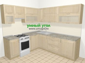 Угловая кухня из массива дерева в классическом стиле 6,9 м², 210 на 240 см, Светло-коричневые оттенки, верхние модули 72 см, посудомоечная машина, отдельно стоящая плита