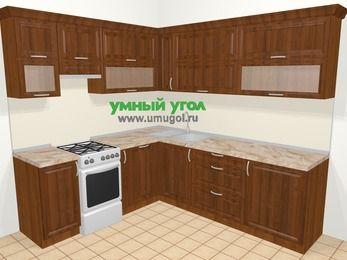 Угловая кухня из массива дерева в классическом стиле 6,9 м², 210 на 240 см, Темно-коричневые оттенки, верхние модули 72 см, посудомоечная машина, отдельно стоящая плита