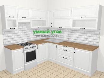 Угловая кухня из массива дерева в скандинавском стиле 6,9 м², 210 на 240 см, Белые оттенки, верхние модули 72 см, посудомоечная машина, отдельно стоящая плита