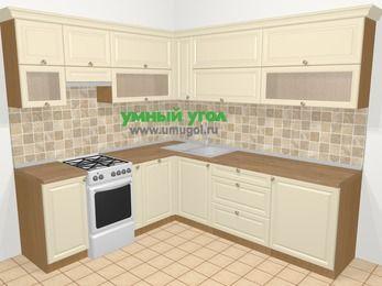 Угловая кухня из массива дерева в стиле кантри 6,9 м², 210 на 240 см, Бежевые оттенки, верхние модули 72 см, посудомоечная машина, отдельно стоящая плита
