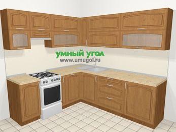 Угловая кухня МДФ патина в классическом стиле 6,9 м², 210 на 240 см, Ольха, верхние модули 72 см, посудомоечная машина, отдельно стоящая плита