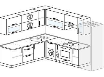 Планировка угловой кухни 8,1 м², 210 на 270 см (зеркальный проект): верхние модули 72 см, посудомоечная машина, корзина-бутылочница, встроенный духовой шкаф, холодильник