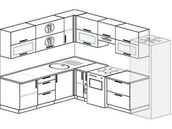 Планировка угловой кухни 8,1 м², 2100 на 2700 мм (зеркальный проект): верхние модули 720 мм, корзина-бутылочница, отдельно стоящая плита, холодильник