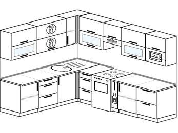 Планировка угловой кухни 8,1 м², 210 на 270 см (зеркальный проект): верхние модули 72 см, отдельно стоящая плита, корзина-бутылочница, модуль под свч