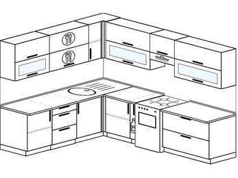 Планировка угловой кухни 8,1 м², 210 на 270 см (зеркальный проект): верхние модули 72 см, корзина-бутылочница, отдельно стоящая плита