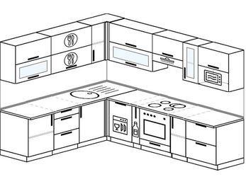 Планировка угловой кухни 8,1 м², 210 на 270 см (зеркальный проект): верхние модули 72 см, посудомоечная машина, корзина-бутылочница, встроенный духовой шкаф, модуль под свч