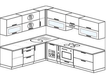 Планировка угловой кухни 8,1 м², 210 на 270 см (зеркальный проект): верхние модули 72 см, посудомоечная машина, корзина-бутылочница, встроенный духовой шкаф