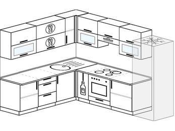 Планировка угловой кухни 8,1 м², 2100 на 2700 мм (зеркальный проект): верхние модули 720 мм, корзина-бутылочница, встроенный духовой шкаф, холодильник