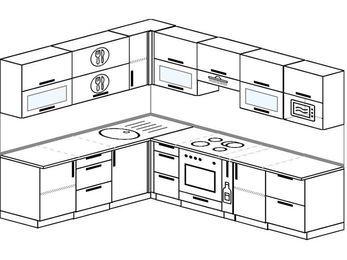 Планировка угловой кухни 8,1 м², 210 на 270 см (зеркальный проект): верхние модули 72 см, встроенный духовой шкаф, корзина-бутылочница, модуль под свч