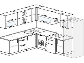 Планировка угловой кухни 8,1 м², 2100 на 2700 мм (зеркальный проект): верхние модули 720 мм, посудомоечная машина, корзина-бутылочница, отдельно стоящая плита, холодильник