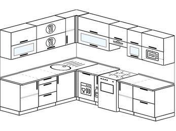 Планировка угловой кухни 8,1 м², 210 на 270 см (зеркальный проект): верхние модули 72 см, посудомоечная машина, корзина-бутылочница, отдельно стоящая плита, модуль под свч