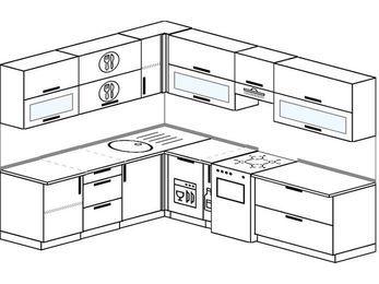 Планировка угловой кухни 8,1 м², 210 на 270 см (зеркальный проект): верхние модули 72 см, посудомоечная машина, корзина-бутылочница, отдельно стоящая плита