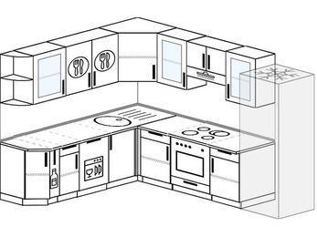 Планировка угловой кухни 8,1 м², 210 на 270 см (зеркальный проект): верхние модули 72 см, корзина-бутылочница, посудомоечная машина, встроенный духовой шкаф, холодильник
