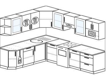 Планировка угловой кухни 8,1 м², 2100 на 2700 мм (зеркальный проект): верхние модули 720 мм, корзина-бутылочница, отдельно стоящая плита, модуль под свч