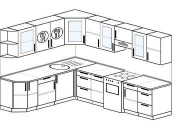 Планировка угловой кухни 8,1 м², 210 на 270 см (зеркальный проект): верхние модули 72 см, отдельно стоящая плита