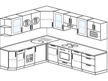 Планировка угловой кухни 8,1 м², 210 на 270 см (зеркальный проект): верхние модули 72 см, посудомоечная машина, встроенный духовой шкаф, модуль под свч