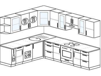 Планировка угловой кухни 8,1 м², 210 на 270 см (зеркальный проект): верхние модули 72 см, корзина-бутылочница, посудомоечная машина, встроенный духовой шкаф