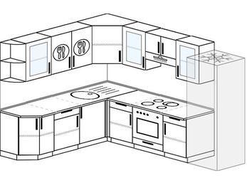 Планировка угловой кухни 8,1 м², 210 на 270 см (зеркальный проект): верхние модули 72 см, встроенный духовой шкаф, холодильник