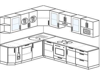 Планировка угловой кухни 8,1 м², 210 на 270 см (зеркальный проект): верхние модули 72 см, корзина-бутылочница, встроенный духовой шкаф, модуль под свч