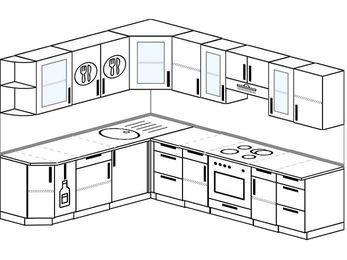 Планировка угловой кухни 8,1 м², 210 на 270 см (зеркальный проект): верхние модули 72 см, корзина-бутылочница, встроенный духовой шкаф