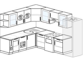 Планировка угловой кухни 8,1 м², 210 на 270 см (зеркальный проект): верхние модули 72 см, корзина-бутылочница, посудомоечная машина, отдельно стоящая плита, холодильник