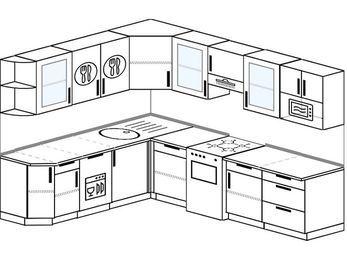 Планировка угловой кухни 8,1 м², 210 на 270 см (зеркальный проект): верхние модули 72 см, посудомоечная машина, отдельно стоящая плита, модуль под свч