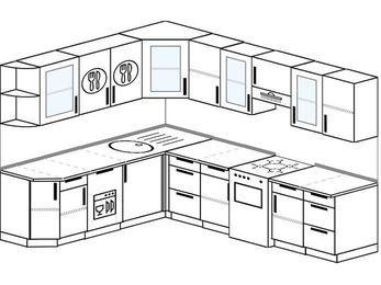 Планировка угловой кухни 8,1 м², 210 на 270 см (зеркальный проект): верхние модули 72 см, посудомоечная машина, отдельно стоящая плита