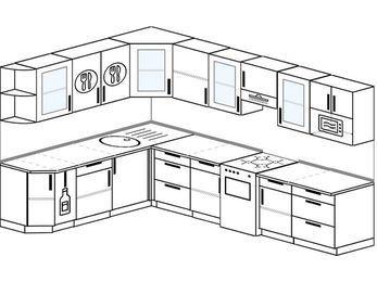 Угловая кухня 9,3 м² (2,1✕3,1 м), верхние модули 72 см, модуль под свч, отдельно стоящая плита