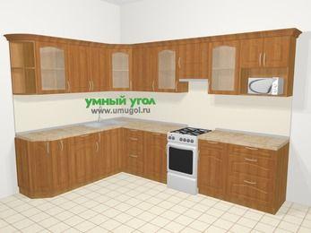 Угловая кухня МДФ матовый в классическом стиле 9,3 м², 210 на 310 см (зеркальный проект), Вишня, верхние модули 72 см, модуль под свч, отдельно стоящая плита