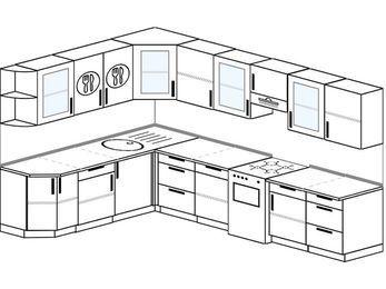 Угловая кухня 9,3 м² (2,1✕3,1 м), верхние модули 72 см, отдельно стоящая плита