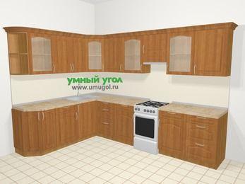 Угловая кухня МДФ матовый в классическом стиле 9,3 м², 210 на 310 см (зеркальный проект), Вишня, верхние модули 72 см, отдельно стоящая плита