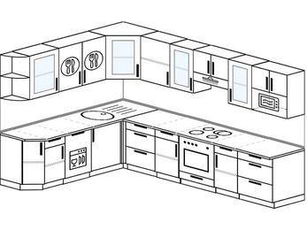 Угловая кухня 9,3 м² (2,1✕3,1 м), верхние модули 72 см, посудомоечная машина, модуль под свч, встроенный духовой шкаф