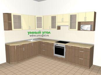 Угловая кухня МДФ матовый 9,3 м², 2100 на 3100 мм (зеркальный проект), Ваниль / Лиственница бронзовая, верхние модули 720 мм, посудомоечная машина, модуль под свч, встроенный духовой шкаф