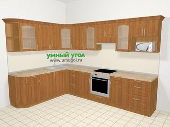 Угловая кухня МДФ матовый в классическом стиле 9,3 м², 210 на 310 см (зеркальный проект), Вишня, верхние модули 72 см, посудомоечная машина, модуль под свч, встроенный духовой шкаф