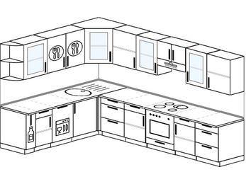Угловая кухня 9,3 м² (2,1✕3,1 м), верхние модули 72 см, посудомоечная машина, встроенный духовой шкаф