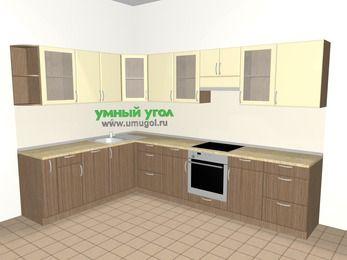 Угловая кухня МДФ матовый 9,3 м², 2100 на 3100 мм (зеркальный проект), Ваниль / Лиственница бронзовая, верхние модули 720 мм, посудомоечная машина, встроенный духовой шкаф