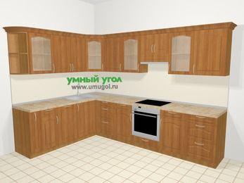 Угловая кухня МДФ матовый в классическом стиле 9,3 м², 210 на 310 см (зеркальный проект), Вишня, верхние модули 72 см, посудомоечная машина, встроенный духовой шкаф