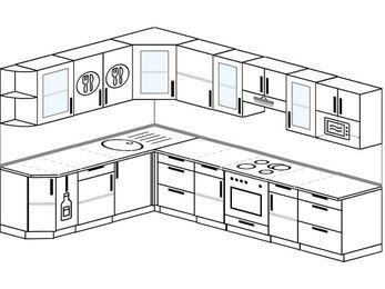 Угловая кухня 9,3 м² (2,1✕3,1 м), верхние модули 72 см, модуль под свч, встроенный духовой шкаф