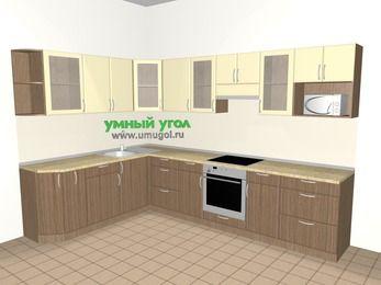 Угловая кухня МДФ матовый 9,3 м², 2100 на 3100 мм (зеркальный проект), Ваниль / Лиственница бронзовая, верхние модули 720 мм, модуль под свч, встроенный духовой шкаф