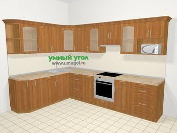 Угловая кухня МДФ матовый в классическом стиле 9,3 м², 210 на 310 см (зеркальный проект), Вишня, верхние модули 72 см, модуль под свч, встроенный духовой шкаф