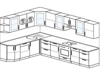 Планировка угловой кухни 9,3 м², 210 на 310 см (зеркальный проект): верхние модули 72 см, встроенный духовой шкаф